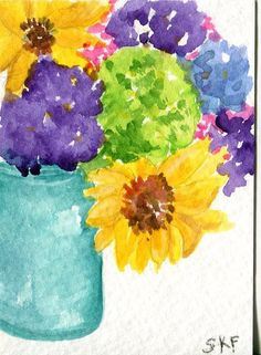 Colorful zinnias sunflowers in Blue Canning Jar by SharonFosterArt, $10.00