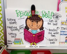 """Read to Self anchor chart in kindergarten. After going creating traditional Daily 5 anchor charts with students, I made these using Scrappin Doodles clip art. Colored (that is crayon wax melting from her bangs- oops) laminated, and using a Vis-a-Vis (they don't smudge as Expo's do) we talked about what the students body and made notes. Had to make some alterations to hands/eyes with some of the art so that they were """"on the book"""". LOL. Kids said the eyes were creepy. Ha!"""