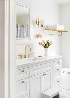 Bathroom Decor Ideas A 1925 Colonial Home Gets an Uber-Modern Facelift.Bathroom Decor Ideas A 1925 Colonial Home Gets an Uber-Modern Facelift Fixer Upper Bathroom, Modern Powder Rooms, Small Bathroom, Small Bathroom Decor, Gold Bathroom, Bathroom Interior, Bathroom Decor, Bathroom Renos, Bathroom Interior Design