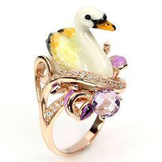 Ring Schwan mit Amethyst und Perle - 89,95 Euro