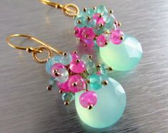 Aqua Chalcedony With Pink Moonstone Gold Filled Cluster Earrings