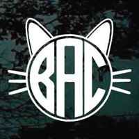 Cat Monogram car decals & stickers cut any size. Custom vinyl Cat Circle Monogram stickers in lots of colors & etched glass. Choose your color, select your size and add your text!