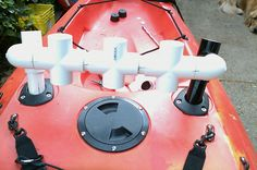 Home made rod holder for the kayak made out of pvc pipe that  can hold several rods.