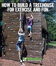 Our homemade treehouse that is great for exercise and creative play in kids with monkey bars, a climbing wall, a rope, a slide, zip line and slack line.: