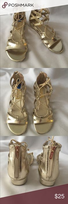"""NEW Sam Edelman Circus gold  sandals Sz 2 Cute and sassy Girl's Sam Edelman sandals. Sz 2 New!!  Never worn. Small 1"""" wedge.  Zip up in back with elastic tie in front.  Rubber sole. Circus by Sam Edelman Shoes Sandals & Flip Flops"""