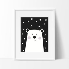 Black and White Polar Bear Print, Nursery Polar Bear, Nursery Black and White…