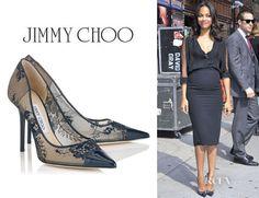 90e03a3c890 Who  Zoe Saldana wearing Jimmy Choo  Amika  leather-trimmed lace pumps  Shop  Jimmy Choo US Jimmy Choo UK Net-A-Porter US Net-A-Porter  International Nordstr