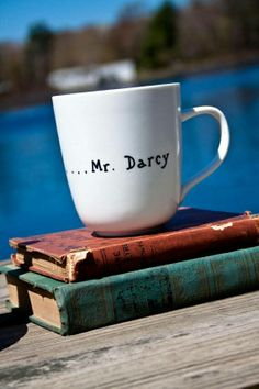 Steaming by books and excape - Mr Darcy Coffee Cup