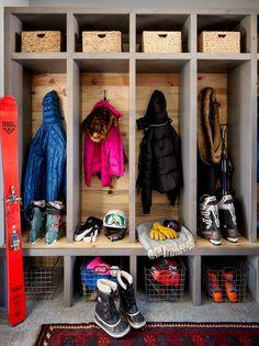 Mountain home ski locker mudroom Mudroom Laundry Room, Montana Homes, Ski Chalet, Entrance Hall, Big Sky, House Rooms, Patagonia, Lockers, Costa