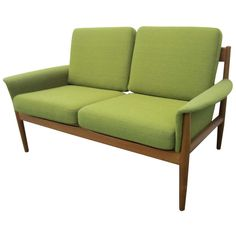 Excellent Greta Jalk Danish Modern Teak Love seat Settee Sofa Mid-century Modern | From a unique collection of antique and modern loveseats at http://www.1stdibs.com/furniture/seating/loveseats/
