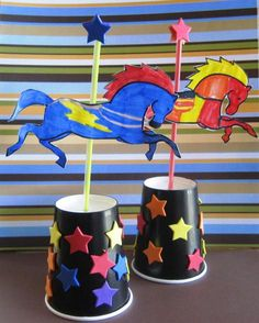Carousel Horse Craft - use the free printable to make this colourful paper cup craft!