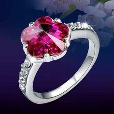 Beautiful pink flower jem ring