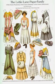 1910 The Lettie Lane Paper Family: Lettie's Sister's Bridesmaids -Paper Dolls -artist Sheila Young -Curtis Publishing Co. Victorian Paper Dolls, Vintage Paper Dolls, Art Origami, Paper Art, Paper Crafts, Little Presents, Paper Dolls Printable, Bobe, Paper Toys