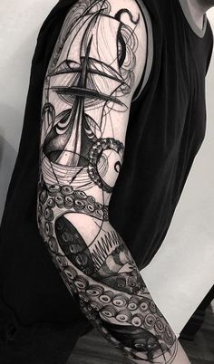 Black Tentacles Sleeve Tattoo