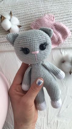 This is a crochet amigurumi pattern of the Cat (PDF file). NOT a finished doll you see on these photos.  This pattern is available in English. The height of finished toy is about 20 cm (7,87 inch). This awesome Cat will be a great gift for kids, girls and those who love cats. This cat has 2 dresses. You can play with it like a doll and change dresses. Crochet Cat Pattern, Crochet Animal Patterns, Crochet Bunny, Stuffed Animal Patterns, Crochet Patterns Amigurumi, Crochet Blanket Patterns, Cute Crochet, Crochet Animals, Crochet Birds