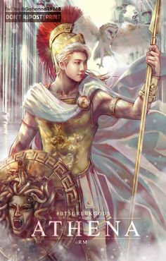 BTS Greek Gods Art Project RM - ATHENA (male ver) Athena is an ancient Greek goddess associated with wisdom, handicraft, and warfare. Bts Chibi, K Pop, Namjoon, Rapmon, Jimin, Fanart Bts, Bts Pictures, Photos, Kpop Drawings