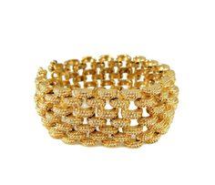 Vintage Monet Panther Link Bracelet Wide Gold Tone