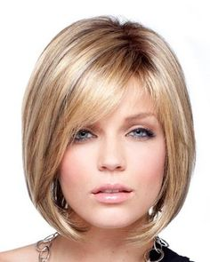 Asymetrical Bob in a blend of blondes, browns and a touch of red.