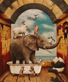 The Relaxing Tub 2015 - Tyson Grumm Elephant Spirit Animal, Elephant Love, Elephant Art, Surrealism Painting, Pop Surrealism, Fantasy Drawings, Art Drawings, Pop Art, Animal Spirit Guides