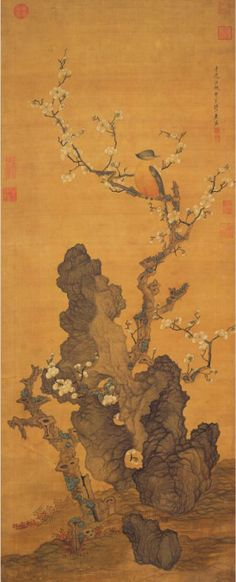 Plum Blossoms and Wild Bird Ch'en Hung-shou (1599-1652), Ming dynasty (1368-1644) Hanging scroll, ink and color on silk, 124.3 x 49.6 cm