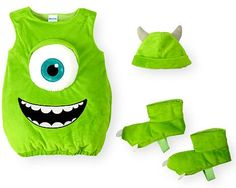 He's way too sweet to be scary in this Disney Boys' 3-Piece Monsters, Inc. Mike Wazowski Halloween Costume! The sleeveless, plush pullover suit is styled to resemble that lovable one-eyed creature and stuffed with lots of filling for cushioned comfort. The coordinating foot covers and hat with 3-dimensional horns add spook-tacular finishing touches.
