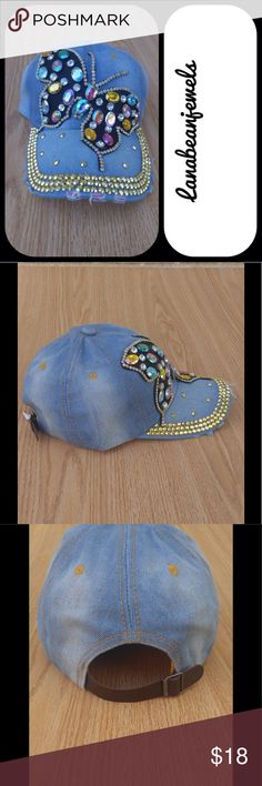 Light denim sassy hat! Brand new denim hat that the cutest butterfly design! Has a brown adjustable strap in back Accessories Hats