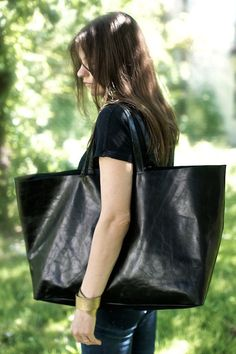 Black Oversized  Bag everyday tote bag by patkas on Etsy, $170.00