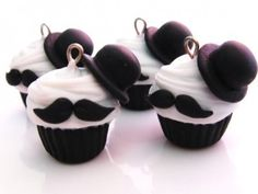 Top Hat and Mustache Cupcakes