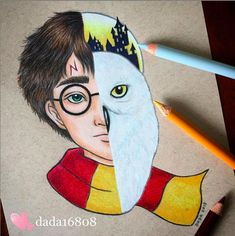She combines two characters in one in her sumptuous pencil drawings (page - Disney Drawings Sketches, Cute Disney Drawings, Cool Art Drawings, Cartoon Drawings, Drawing Sketches, Drawing Cartoon Characters, Drawing Ideas, Harry Potter Sketch, Harry Potter Drawings