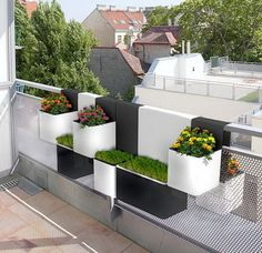 Modern Planter Design for Urban Balcony by Royer and Thirion. Love this concept Urban Balcony, Narrow Balcony, Modern Balcony, Over Railing Planters, Balcony Planters, Balcony Railing, Balcony Ideas, Hanging Planters, Balcony Gardening