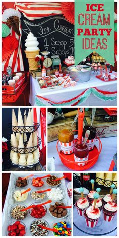 A 50's inspired Ice Cream Shoppe birthday party with toppings, cones, cupcakes and  treats!  See more party planning ideas at CatchMyParty.com!