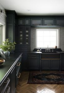 I shared our finished kitchen on Monday and today I'm back to give you a peek inside our Diamond cabinets and share my tips for designing a functional kitchen. Diamond Cabinets, Navy Cabinets, Grey Kitchen Cabinets, Dark Green Kitchen, Slider Design, Cabinet Plans, Kitchen Corner, Functional Kitchen, Black Kitchens