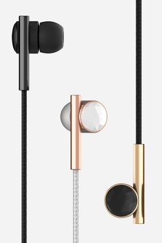 Geometric and spare, these earbuds are as chic as they are functional. $80.