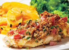 This easy take on chicken Cordon Bleu keeps the flavors the same, but skips the fussy layering and breading steps. Serve with delicata squash and broccoli.