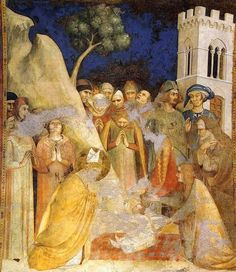 Simone Martini (1285–1344) -Scenes from the life of Saint Martin: The Miracle of the Resurrected Child (scene 5) from 1317 until 1319 Current location Cappella di San Martino, Lower Church, San Francesco, Assisi