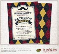 Mustache & Argyle Bachelor Party Invitation - Printed or DIY Printable