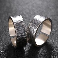 Men's Fine Silver Stripe Pattern Pinky Ring - Jewelry1000.com