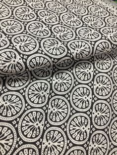 Pure Cotton, Indian Fabric, Block Print Style, Decorative Flower, Black and White, By the Yard, Iight weight ,floral print, paisley print