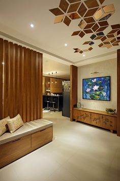 Timeless Modernistic Residence HeRTZ Architects Timeless style, contemporary nuances & a wave of vivacious design engulf the modernistic Modi Residence by HeRTZ Architects in the city of Vadodara - diy-home-decor House Ceiling Design, Ceiling Design Living Room, Bedroom False Ceiling Design, Home Room Design, Modern Ceiling Design, Best False Ceiling Designs, Home Ceiling, Bedroom Ceiling, Living Room Partition Design