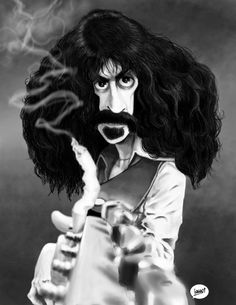 Caricature of Frank Zappa for Caricaturama Showdown 3000. I have to admit, there were a lot of very good submissions for the Frank Zappa challenge. I'm just happy to draw and make my own version. S...