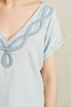 Braided Chambray Tee - anthropologie.com