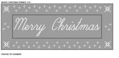 574 Merry Christmas Table Runner Mat Filet Crochet Pattern