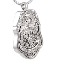 Police Badge Stainless Steel memorial necklace by Casket Etcetera