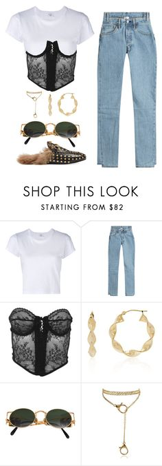 """""""///"""" by mimiih ❤ liked on Polyvore featuring RE/DONE, Vetements, Versace, Belk & Co., Jean-Paul Gaultier, Gucci, versace, gucci, jeanpaulgaultier and vetements"""