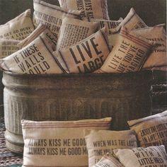 right at home flour grain and vintage potato sacks, home decor, repurposing upcycling, via Iron Accents Home Decor Accessories, Decorative Accessories, Coffee Sacks, Burlap Sacks, Shabby, Textiles, Feed Sacks, Grain Sack, Vintage Pillows
