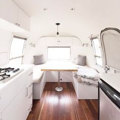 Mountain Modern Airstream - Spent the day doing paint touch-ups so this place really glows! Airstream Bambi, Airstream Land Yacht, Airstream Campers, Remodeled Campers, Airstream Living, Airstream Renovation, Airstream Interior, Airstream Remodel, Airstream Bathroom