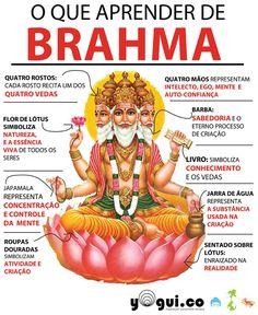Brahma é o deus da música e das canções, com imagem representada como um ser de muitas faces. Além disso é considerado, pelos hindus, a representação da força criadora ativa no universo. A visão de universo pelos hindus é cíclica. Depois que um universo é destruído por Shiva, Vishnu se encontra dormindo e flutuando no oceano primordial. Quando o próximo universo está para ser criado, Brama aparece montado numa flor de lótus brotada do umbigo de Vishnu e recria todo o universo. Kundalini Yoga, Yoga Meditation, Ganesha, Durga, Om Sign, Mudras, Hindu Deities, Brahma Hindu, Shiva Hindu