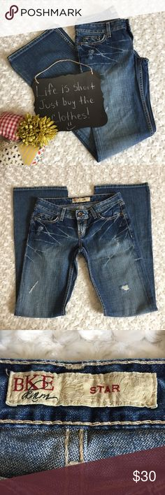 BKE Buckle jeans BKE Buckle bootcut jeans. In absolutely gorgeous condition. Size 27x33.5. Inseam is a true 33.5. Beautiful factory distressing on these jeans!!! ❤️ Buckle Jeans Boot Cut