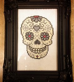 Howling at the moon: Sugar Skull Cross Stitch