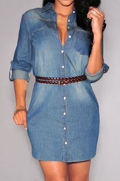Stylish Shirt Collar Long Sleeve Single-Breasted Denim Dress For Women